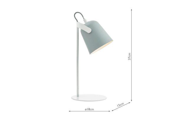 Uri Soft Matt Grey Task Lamp Dimensions
