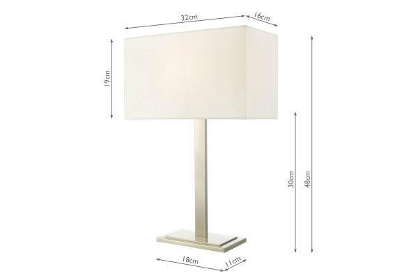 Xavier Satin Nickel Table Lamp with Shade Dimensions