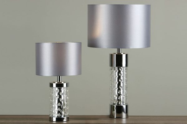 Zia Large and Small Polished Chrome & Crystal Table Lamps with Shades