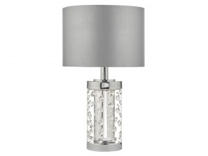 Zia Small Polished Chrome & Crystal table lamp with shade