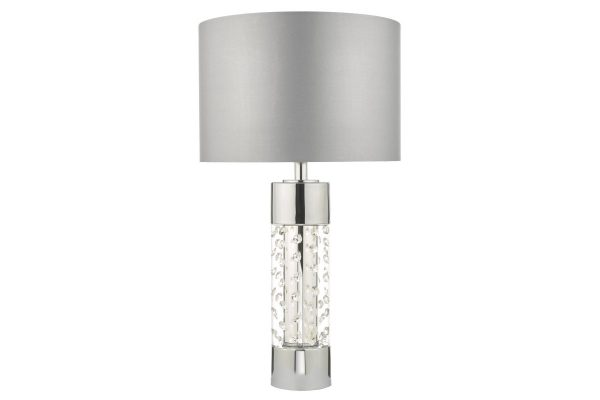 Zia large Polished Chrome & Crystal table lamp with shade