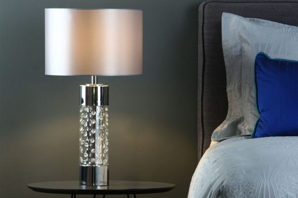 Zia large Polished Chrome & Crystal table lamp with shade bedroom