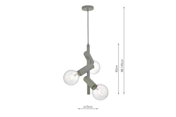 Ziva Grey 3 Light Pendant Measurements
