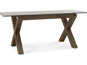 Sopha Avocado dark oak glass top dining table