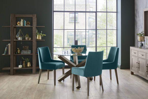 Sopha Avocado dark oak dining glass top round table display