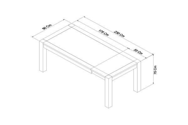 Sopha Avocado dark oak large end extension table measurements