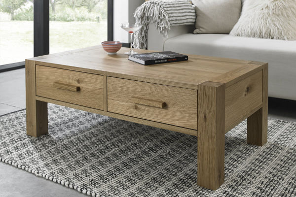 Sopha Avocado light oak coffee table with drawers display