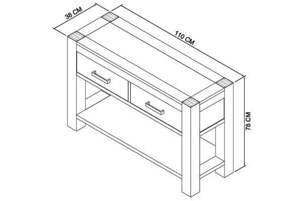 Sopha Avocado light oak console table measurements