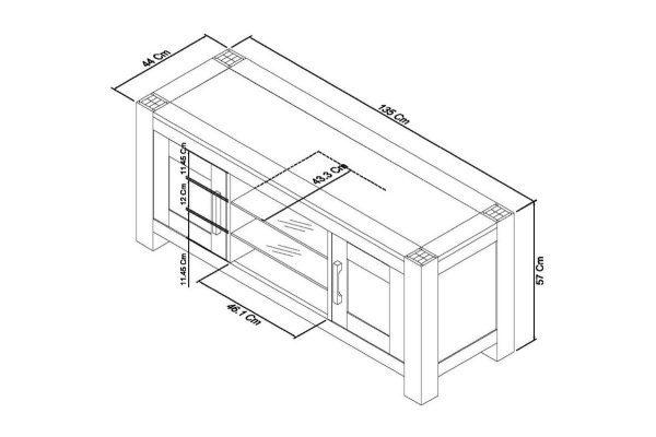Sopha Avocado light oak entertainment unit measurements