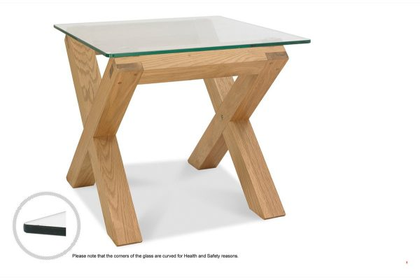 Sopha Avocado light oak glass lamp table