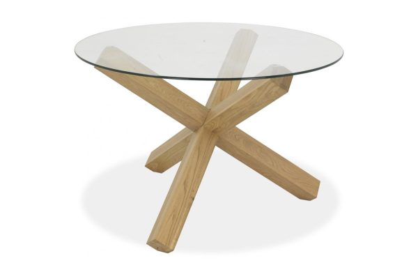 Sopha Avocado light oak glass top round dining table