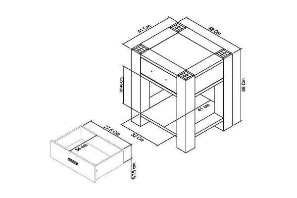 Sopha Avocado light oak lamp table witjh drawer measurements