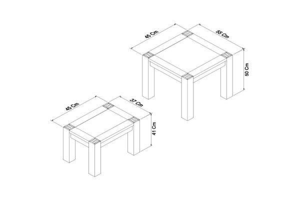 Sopha Avocado light oak nest of lamp tables measurements