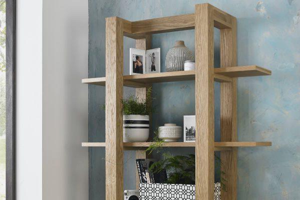 Avocado light oak open shelf unit display