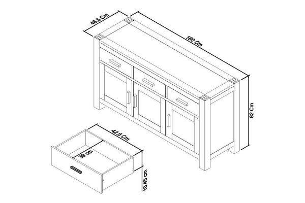 Sopha Avocado light oak wide sideboard measurements