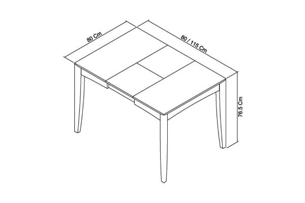 Sopha Nutmeg oak 2 to 4 dining table measurements