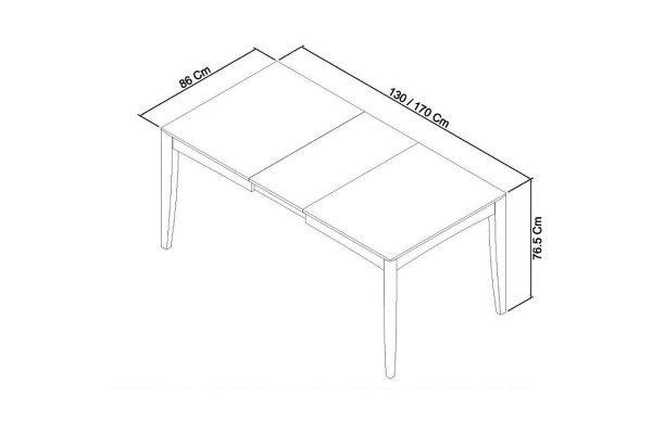 Sopha Nutmeg oak 4 to 6 dining table measurements