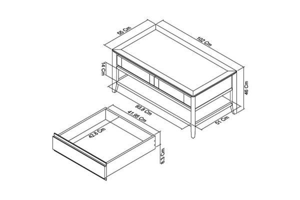 Sopha nutmeg oak coffee table measurements