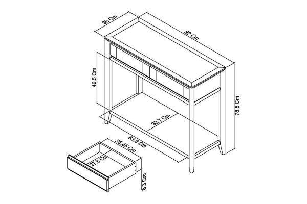 Sopha nutmeg oak console table measurements