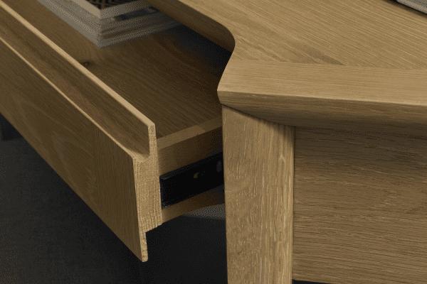 Sopha nutmeg oak corner desk drawer