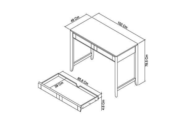Sopha nutmeg oak desk measurements