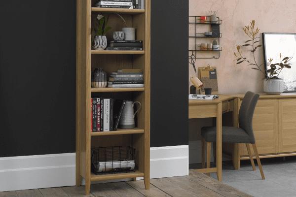 Sopha nutmeg oak narrow bookcase display