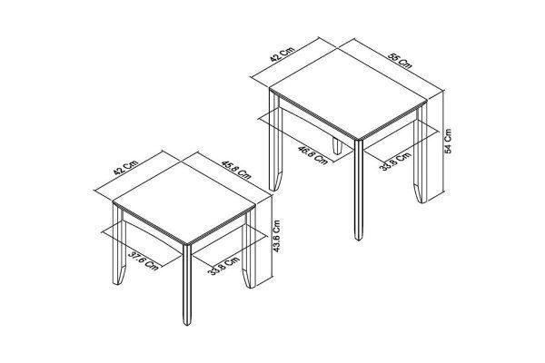 Sopha nutmeg oak nest of tables measurements