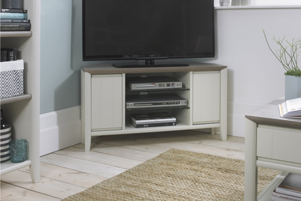 Sopha Nutmeg two tone corner entertainment unit display