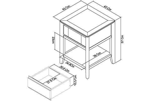 Sopha Nutmeg two tone lamp table measurements