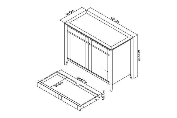 Sopha Nutmeg two tone narrow sideboard measurements