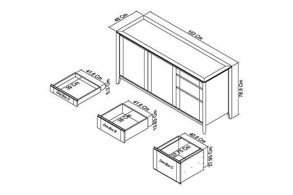 Sopha Nutmeg two tone wide sideboard measurements