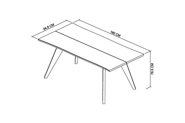 Sopha Pepper aged oak 6 seater table measurements