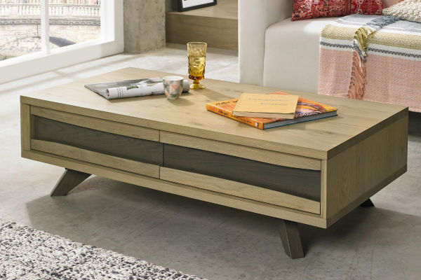 Sopha Pepper aged oak coffee table with drawers display