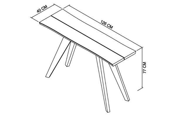 Sopha Pepper aged oak console table measurements