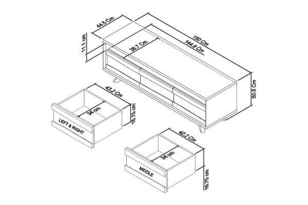 Sopha Pepper aged oak entertainment unit measurements
