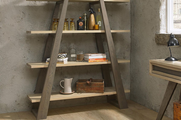 Sopha Pepper aged oak open shelf unit display