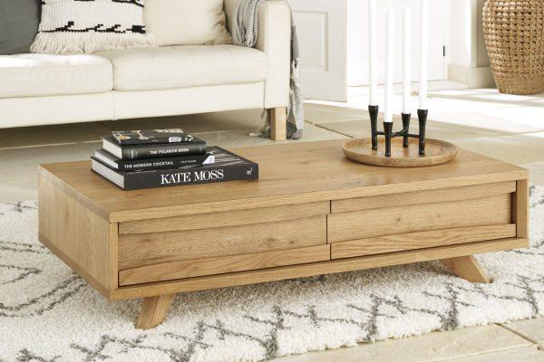 Sopha Pepper rustic oak coffee table with drawer display