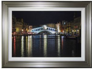 complete colour grand canal bridge liquid art framed picture
