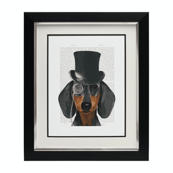 Sopha Dashing Hound Framed Dachshund Animal Portrait 52 x 62cm
