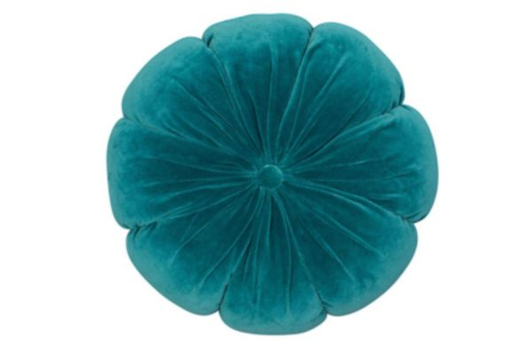 Sopha Teal flower velvet cushion